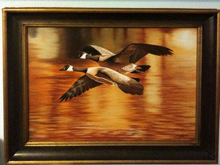 Jimmy Wharton; Golden Pond, 2008, Original Painting Oil, 24 x 24 inches. Artwork description: 241      Geese flying over water                   ...