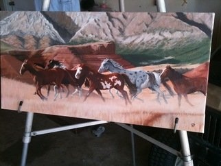 Jimmy Wharton; Stampead, 2011, Original Painting Oil, 12 x 24 inches. Artwork description: 241   stampead  ...