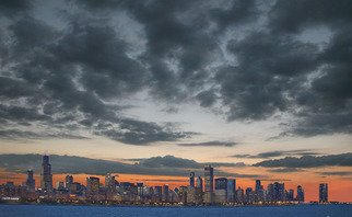 Jim Wright; Chicago Skyline, 2009, Original Photography Color, 14 x 11 inches. Artwork description: 241  chicago at sunset     ...