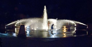 Jim Wright; Fountain, 2010, Original Photography Black and White, 14 x 11 inches. Artwork description: 241   girls play in fountain      ...