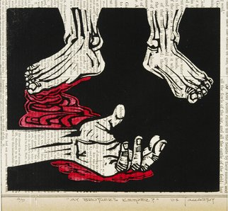 Jack Mccarthy; Brothers Keeper, 2005, Original Printmaking Linoleum, 7 x 6 inches. Artwork description: 241  Printed on 1881 bible page ...