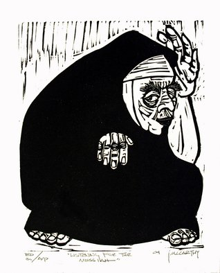 Jack Mccarthy; Listening For The Messiah, 2004, Original Printmaking Linoleum, 8 x 10 inches. Artwork description: 241  Printed on T. Leach, Santa Fe handmade paper. One of a trilogy.  The other two are