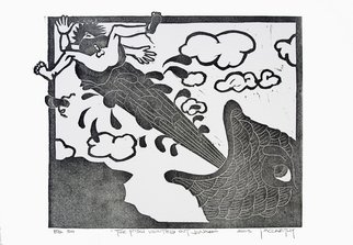 Jack Mccarthy; The Fish Vomited Out Jonah, 2003, Original Printmaking Linoleum, 11 x 8 inches. Artwork description: 241  Somerset Handmade paper ...