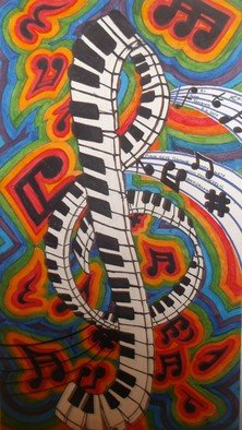 John Jenkins; Piano Keys Form Musical Note, 2020, Original Painting Acrylic, 42 x 72 inches. Artwork description: 241 nice, big, bright and bold.  hand drawn and painted on a sheet of canvass measuring 72 inch by 42 inch signed, titled and dated by myself the artist...
