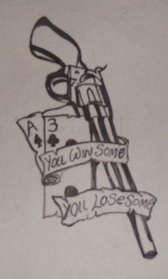 John Jenkins; You Win Some You Lose Some, 2018, Original Drawing Marker, 8 x 11 inches. Artwork description: 241 could be a tattoo design or it could be a design on any item you desire...