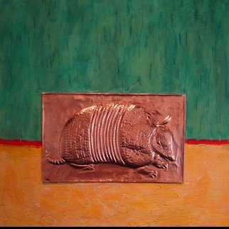 Jamie Kimmel Shelton; Texas Series: Dasypus Nov..., 2009, Original Mixed Media, 24 x 24 inches. Artwork description: 241  Copper on wood with Mixed Media ...