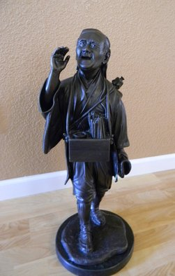 Janice Ludlow; Japanese Candyman, 1977, Original Sculpture Bronze, 9 x 25 inches. Artwork description: 241  Japanese Candyman Sculpture by the late Charles E. Jennings. One of a kind. Other works by Charles Jennings included life size bust of John Wayne and Samuel Bronstein. ...