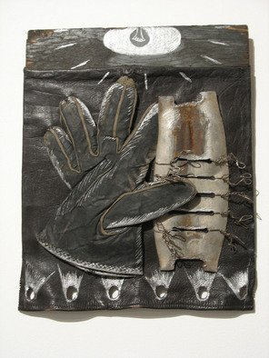 Jill M. Armstrong; Trilobite Waltz, 2003, Original Mixed Media, 11 x 13 inches. Artwork description: 241  found objects and metallic ink on wood and leather ...