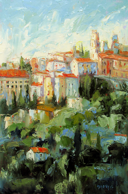 John Maurer, Edge of Apricale Italy, 2014, Original Painting Oil, size_width{Edge_of_Apricale_Italy-1412261123.jpg} X 36 inches