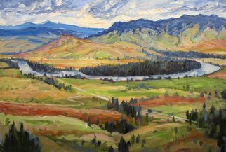 John Maurer; Flathead River Valley Montana, 2014, Original Painting Oil, 36 x 24 inches. Artwork description: 241  American landscape, western, colorful, oil painting, palette knife. ...