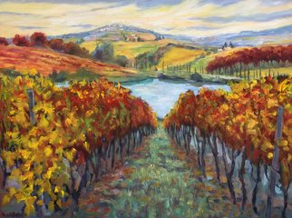 John Maurer; Into Tuscan Vines, 2018, Original Painting Oil, 42 x 32 inches. Artwork description: 241 Oil painting from a view I had along the Chianti Trail in Tuscany.  Painted on canvas using palette knives and brushes. ...
