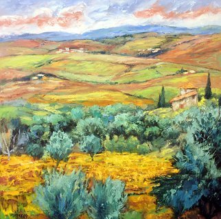 John Maurer; Tuscanys Finest, 2017, Original Painting Oil, 38 x 38 inches. Artwork description: 241 Oil on canvas.  A scene from the heart of Tuscany, the charming village of Montalcino.  Comes framed in a brushed silver floater frame. ...