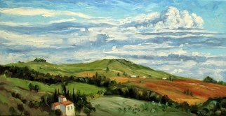 John Maurer; A Tuscan Sky, 2017, Original Painting Oil, 50 x 26 inches. Artwork description: 241 One of the many, beautiful views I experienced along the Chianti Trail in Tuscany. Near San Gimigniano. Painted on canvas using palette knives and brushes. Includes a brushed silver floater frame. ...