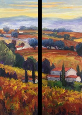 John Maurer; Autumn Chateauneuf Du Pape, 2019, Original Painting Acrylic, 28 x 38 inches. Artwork description: 241 Dyptich. Original, framed acrylic painting from my trip to Provence. Painted with palette knives and brushes.  Framed in a brushed gold floater frame. ...