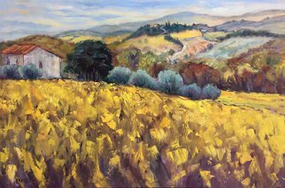 John Maurer; Chianti Trail No 4, 2018, Original Painting Oil, 38 x 26 inches. Artwork description: 241 One of the many, beautiful views I experienced along the Chianti Trail in Tuscany. This location was near the village of Greve. Painted on canvas using palette knives and brushes. Includes a brushed silver or gold floater frame. ...