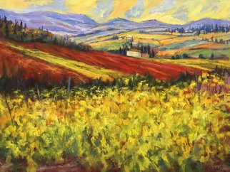 John Maurer; Chianti Vines, 2020, Original Painting Oil, 42 x 32 inches. Artwork description: 241 Painted from a sketch and photo taken while traveling in Tuscany.  Oil on canvas.  Framed in a brushed silver floater frame with black sides. ...