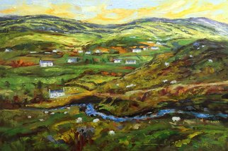 John Maurer; Donegal Dream, 2018, Original Painting Oil, 38 x 26 inches. Artwork description: 241 Original oil painting from a trip to Ireland. Painted with palette knives and brushes.  Framed in a brushed silver floater frame. ...