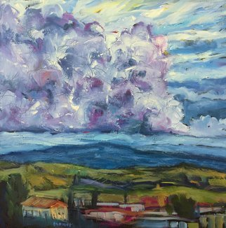 John Maurer; Evening Sky Volterra Italy, 2018, Original Painting Oil, 20 x 20 inches. Artwork description: 241 Original oil painting from my trip to Italy. Painted with palette knives and brushes.  Framed in a brushed silver floater frame. ...