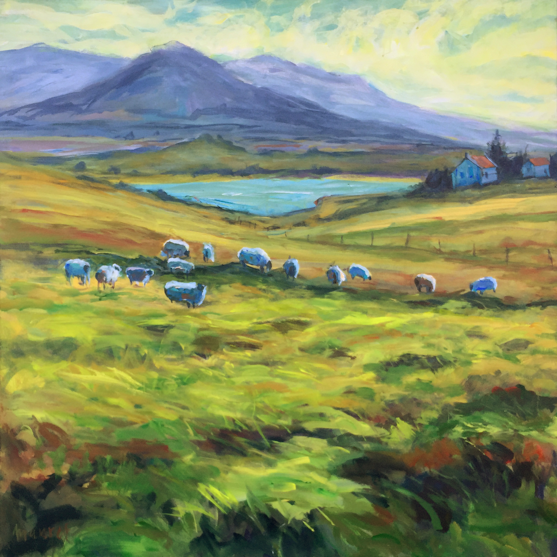 John Maurer; Grazing Derryinver Ireland, 2019, Original Painting Acrylic, 32 x 32 inches. Artwork description: 241 Ireland is my current favorite subject for painting. It was my most recent travel destination. This piece is one of the zillion stunning views I experienced on my two week excursion. Painted on canvas using palette knives and brushes. Includes a brushed silver floater frame. ...