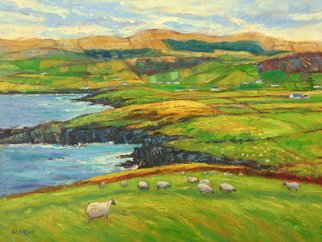 John Maurer; One Day On Dingle, 2020, Original Painting Oil, 50 x 38 inches. Artwork description: 241 Painted from a sketch and photo taken while traveling in Ireland. Oil on canvas. Framed in a brushed silver floater frame with black sides. ...