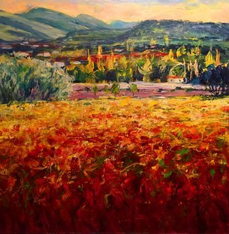 John Maurer; Provence Ablaze, 2019, Original Painting Acrylic, 24 x 24 inches. Artwork description: 241 Original acrylic painting from my trip to Provence.  Painted on birch cradle boart with palette knives and brushes.  ...