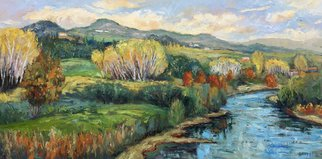 John Maurer; River Serchio Lucca Italy, 2019, Original Painting Oil, 50 x 26 inches. Artwork description: 241 Painted from a sketch and photo taken while traveling in Tuscany. Oil on canvas. Framed in a brushed silver floater frame with black sides. ...