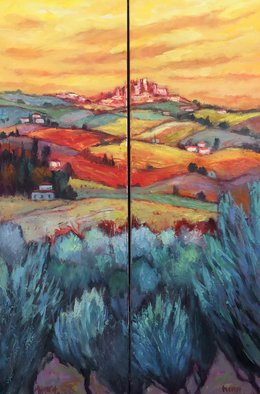 John Maurer; San Gimigniano Diptych, 2020, Original Painting Oil, 28 x 38 inches. Artwork description: 241 Painted from a sketch and photo taken while traveling in Tuscany. Oil on canvas. Framed in a brushed silverfloaterframe with black sides. ...