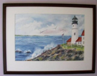 Joanna Batherson; Portland Headlight, 2003, Original Watercolor, 27 x 21 inches. Artwork description: 241 An original watercolor inspired by a visit to the beautiful lighthouse in Maine. ...