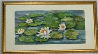 Joanna Batherson; Waterlilies, 2003, Original Watercolor, 27 x 14 inches. Artwork description: 241 An original watercolor framed in a wooden gold frame and it was inspired by the beautiful waterlilies in Maine. ...