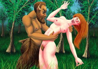 Joao Werner; Satyr And Nymph, 2016, Original Digital Art, 71 x 50 cm. Artwork description: 241 Digital Painting Bitmap  Painter 2016 GiclA(c)e on paper Arches Aquarelle Rag,  100  cotton Limited edition to 20 prints.Dated, signed, numbered and stamped.With Certificate of Authenticity. ...