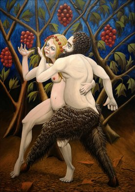 Joao Werner; Satyr And Nymph, 2017, Original Painting Oil, 50 x 70 cm.