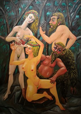 Joao Werner; Satyrs And Nymphs, 2017, Original Painting Oil, 50 x 70 cm.