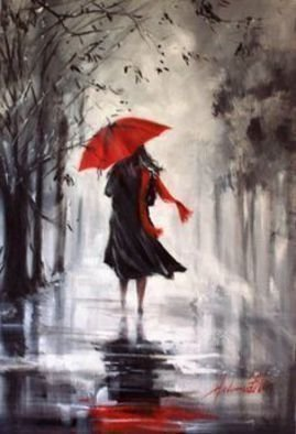 Joe Scotland; A Walk In The Wind And Rain, 2016, Original Painting Acrylic, 40 x 30 cm. Artwork description: 241  Lady Taking a Walk during a Wet and Windy Daydone on stretched canvas ...