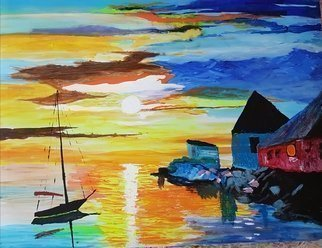 Joe Scotland; At Home, 2018, Original Painting Acrylic, 20 x 16 inches. Artwork description: 241 The man has been out sailing longer than usual because its such a beautiful day. He is back home now preparing a favorite meal, and maybe a drink or two. He hopes its going to be another beautiful day tomorrow.on canvas ...