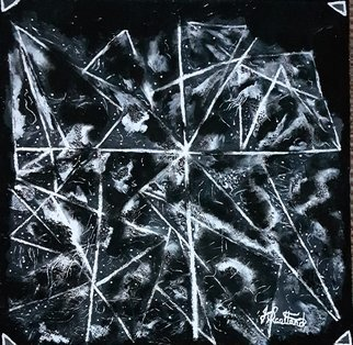 Joe Scotland; Dreaming The Darkness, 2019, Original Painting Acrylic, 24 x 24 inches. Artwork description: 241 I saw a painting not signed but inspired me to do this painting, done in black and in white colours merging black into white and white into black, the triangles are showing, enclosing the colours hoping to get the centre stage of the painting. Painting was done ...