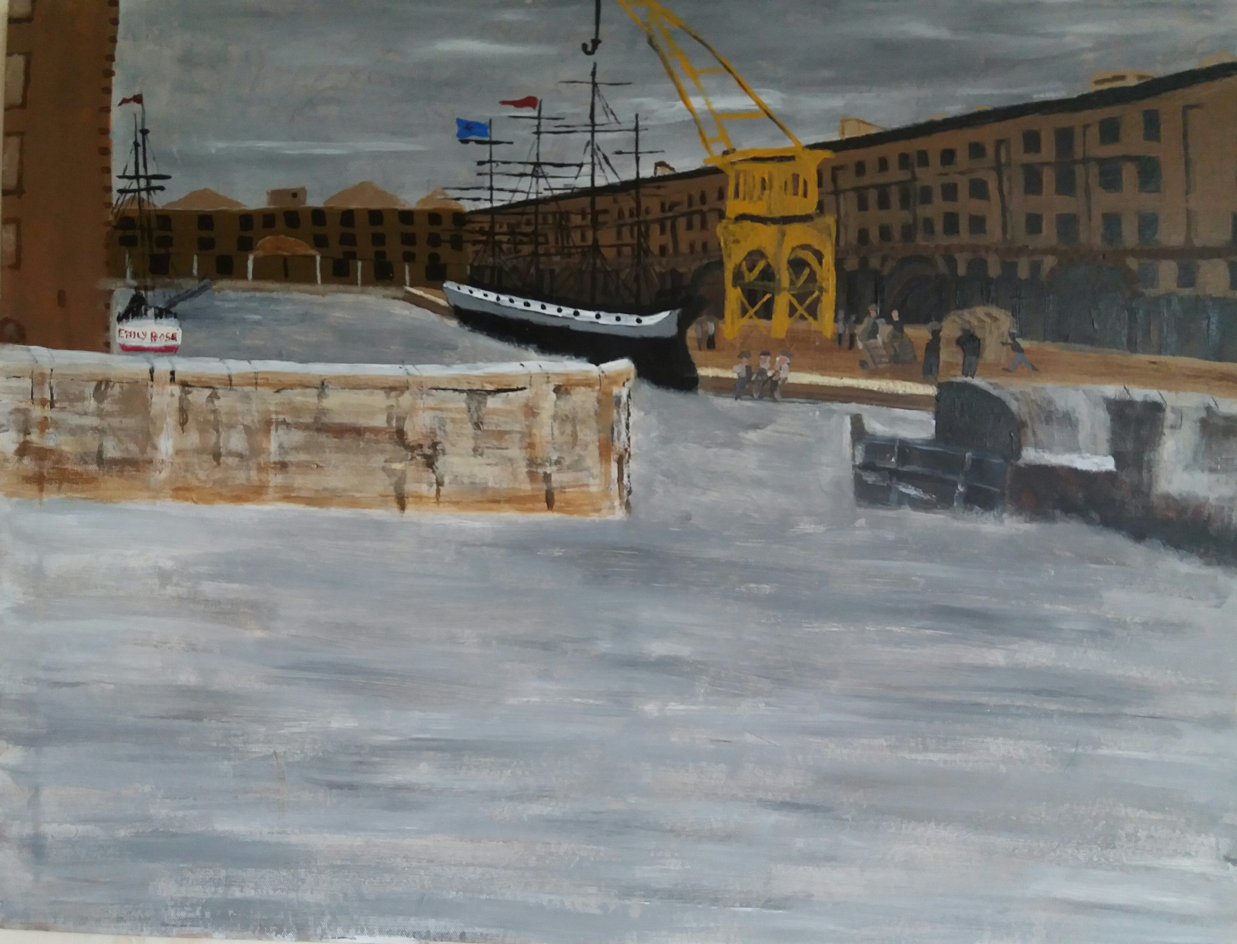 Joe Scotland; The Albert Dock Liverpool, 2017, Original Painting Acrylic, 45 x 60 inches. Artwork description: 241 Albert Dock in its original formon stretched canvas...