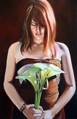 Jo Chester; Gilding The Lily, 2008, Original Painting Oil, 50.8 x 76.2 cm. Artwork description: 241  She silently contemplates time shifting as the past retreats.Girl, teen, brown dress, contemplation, time, floral, lilies. ...