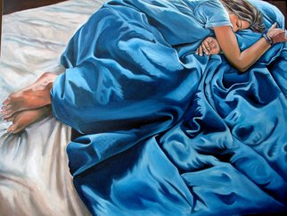 Jo Chester; Sleep, Deep With Dreams, 2007, Original Painting Oil, 106 x 75 cm. Artwork description: 241  A girl, sleeps and dreams teenage dreams, curled up in her blue duvet.Girl, sleep, dream, blue, teen. ...