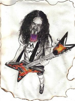 Jodie Hammonds; Dimebag Darrel, 2011, Original Drawing Charcoal, 8 x 10 inches. Artwork description: 241  From the Heavy Metal band Pantera and Damageplan ...