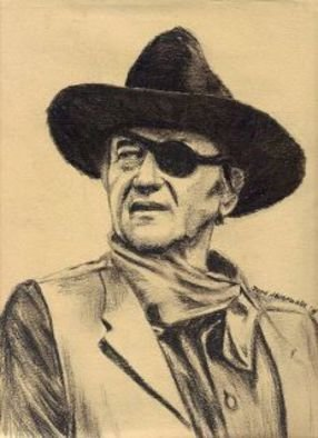 Jodie Hammonds; John Wayne, 2012, Original Drawing Charcoal, 8 x 10 inches. Artwork description: 241  John Wayne
