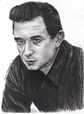 Jodie Hammonds; Johnny Cash, 2012, Original Drawing Pencil, 8 x 10 inches. Artwork description: 241  young Johnny Cash             ...