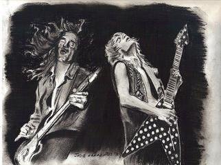 Jodie Hammonds; Rock Alive In Heaven, 2012, Original Drawing Charcoal, 8 x 10 inches. Artwork description: 241  Randy Rhodes of Ozzy Osborne and Cliff Burton of Metallica jamming together    ...