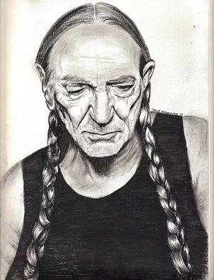 Jodie Hammonds; Willie Nelson, 2011, Original Drawing Charcoal, 8 x 10 inches. Artwork description: 241   Country Icon Willie Nelson ...