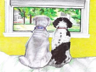 Jodie Hammonds; Dog View, 2017, Original Drawing Pencil, 11 x 8 inches. Artwork description: 241 Dogs, window, pet...