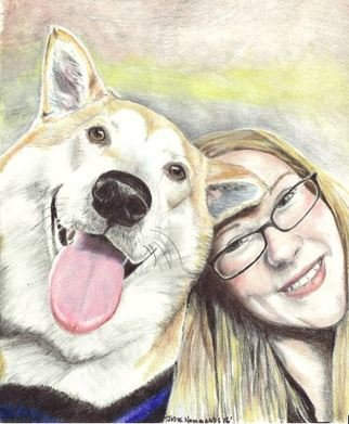 Jodie Hammonds; Duncan, 2017, Original Drawing Pencil, 8 x 10 inches. Artwork description: 241 Shiba Inu, smiles, pet, dog...