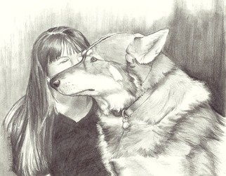 Jodie Hammonds; Merlin, 2016, Original Drawing Graphite, 10 x 8 inches. Artwork description: 241 Husky, England, dog...