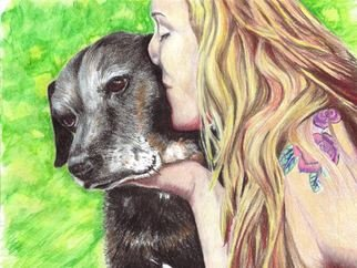 Jodie Hammonds; Roxxy And The Kiss, 2016, Original Drawing Pencil, 10 x 8 inches. Artwork description: 241 Color, Labrador, kiss, dog...