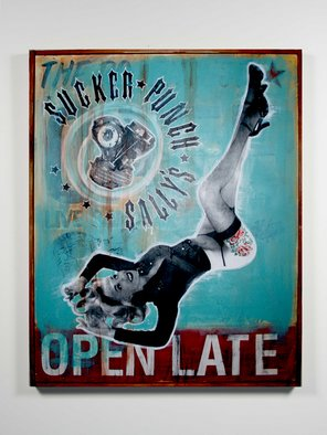 Joe Morris; Americana, 2008, Original Mixed Media, 48 x 60 inches. Artwork description: 241  Nothing sais Americana like v- twin motors, pin ups, and tattoos ...