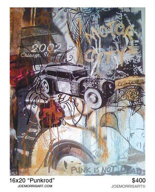 Joe Morris; Punkrod, 2010, Original Mixed Media, 16 x 20 inches. Artwork description: 241  Work is on gallery wrapped canvas. I used some gold paint in areas like in motor city on top right corner. When you walk by it as the day changes it' s light so does the shimmer of the paint. ...