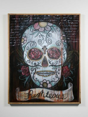 Joe Morris; The Path, 2008, Original Painting Acrylic, 48 x 60 inches. Artwork description: 241  Day of the Dead Skull with hand written passage. Also used some staining techniques on top of acrylic. ...